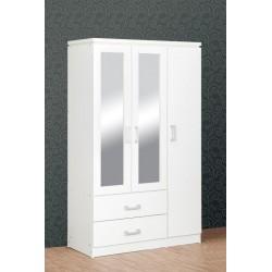 Charles 3 Door 2 Drawer Mirrored Wardrobe White