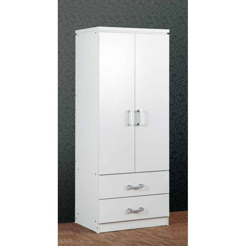 Charles 2 Door 2 Drawer Wardrobe White