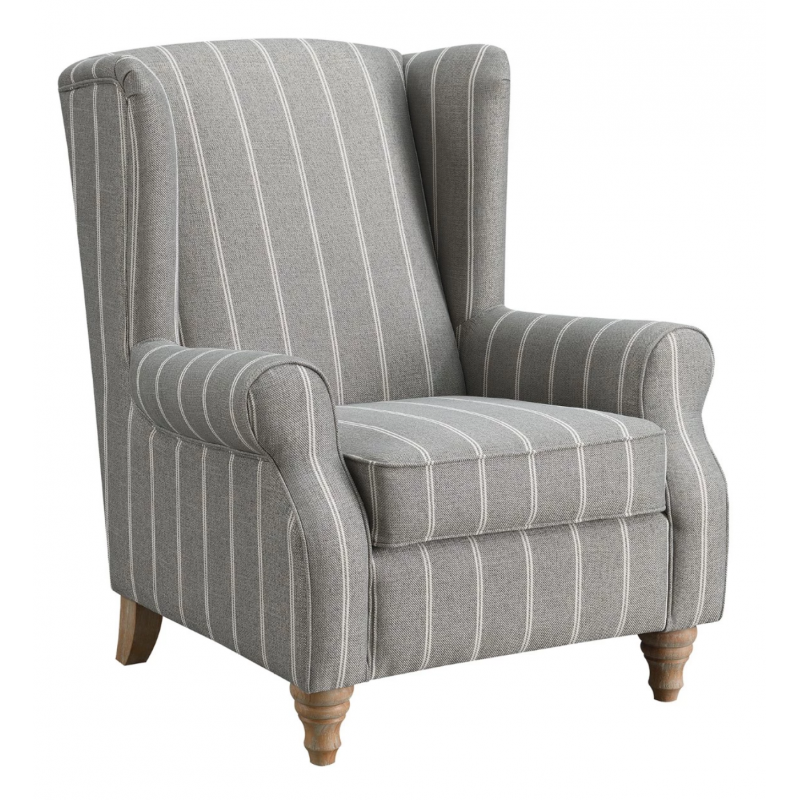 GREY STRIPE ARMCHAIR - JB Furniture