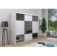 06 Abba 2 250 White + Black Glass Sliding Wardrobe